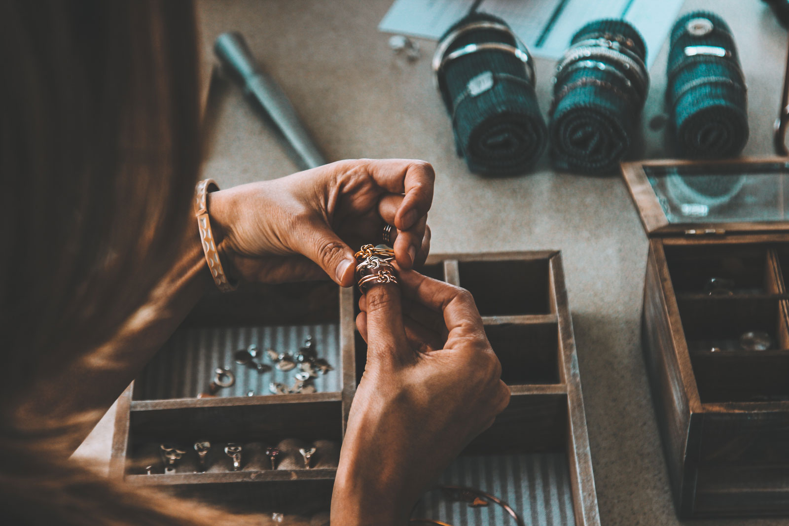 Woman Trying A Ring | Does Costume Jewelry Really Turn Your Skin Green?